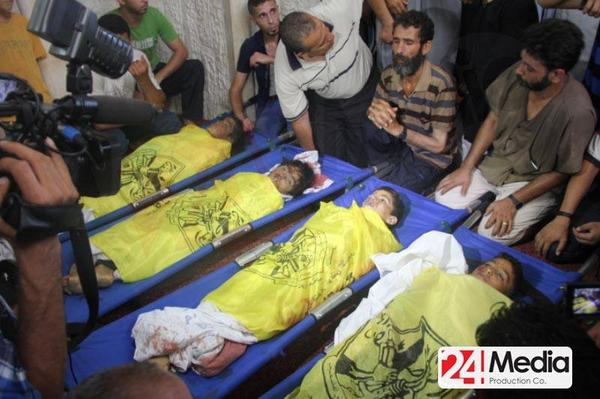The 4 children killed today in an #Israel air strike whilst playing on a Gaza beach